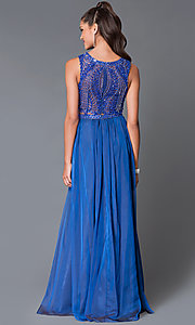 Image of two-piece beaded-crop-top long formal prom dress. Style: MF-E1958 Back Image