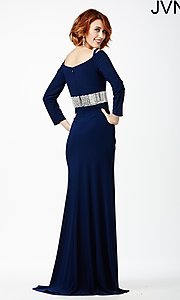 Image of long sleeve embellished waistline dress Style: JO-JVN-JVN24744 Back Image