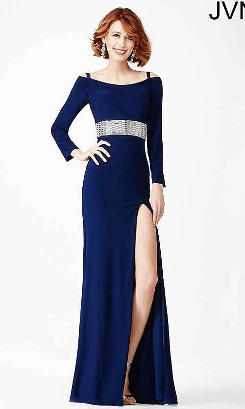Image of long sleeve embellished waistline dress Style: JO-JVN-JVN24744 Front Image
