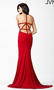Image of long open-back high-neck dress by JVN by Jovani. Style: JO-JVN-JVN25634 Back Image