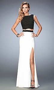 Black Top White Long Jersey Skirt Prom Dress by Gigi