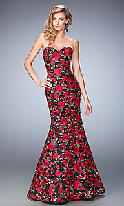 Long Floral Print Strapless Prom Dress by La Femme