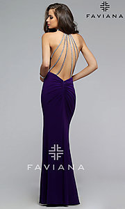 Image of long sleeveless high neck backless dress Style: FA-7700 Back Image