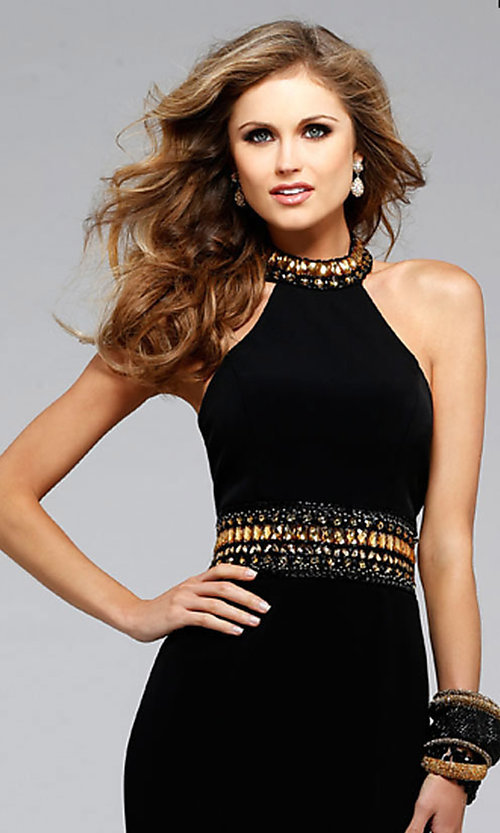 Image of long sleeveless halter dress  Style: FA-7704 Detail Image 1