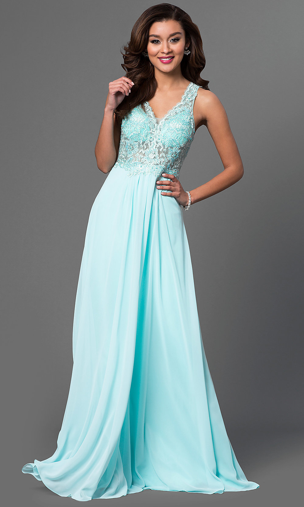 Long Faviana Formal V-Neck Evening Dress -PromGirl