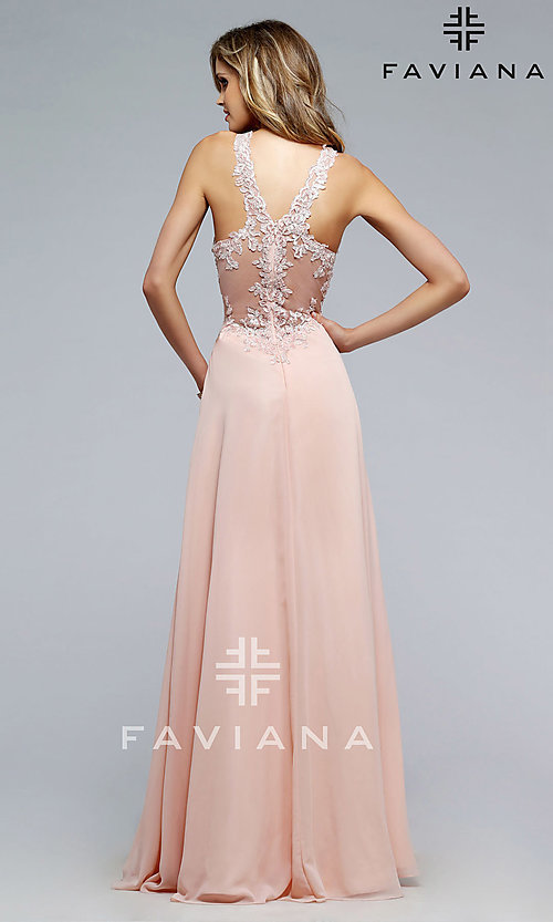 Image of long Faviana formal evening dress with v-neckline Style: FA-S7712 Back Image
