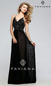Image of Faviana embroidered-mesh long v-neck formal gown. Style: FA-7717 Front Image