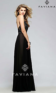 Image of Faviana embroidered-mesh long v-neck formal gown. Style: FA-7717 Detail Image 1