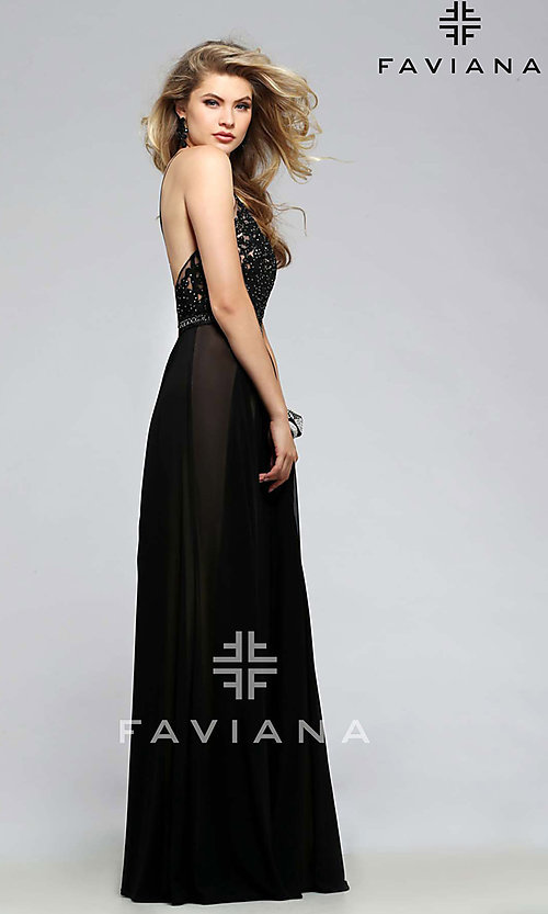 Image of Faviana embroidered-mesh long v-neck formal gown. Style: FA-7717 Back Image