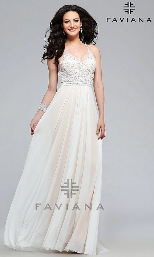 Image of Faviana embroidered-mesh long v-neck formal gown. Style: FA-7717 Detail Image 2