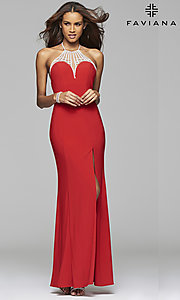 Image of jeweled high-neck Faviana prom dress with open back.  Style: FA-7727 Detail Image 2