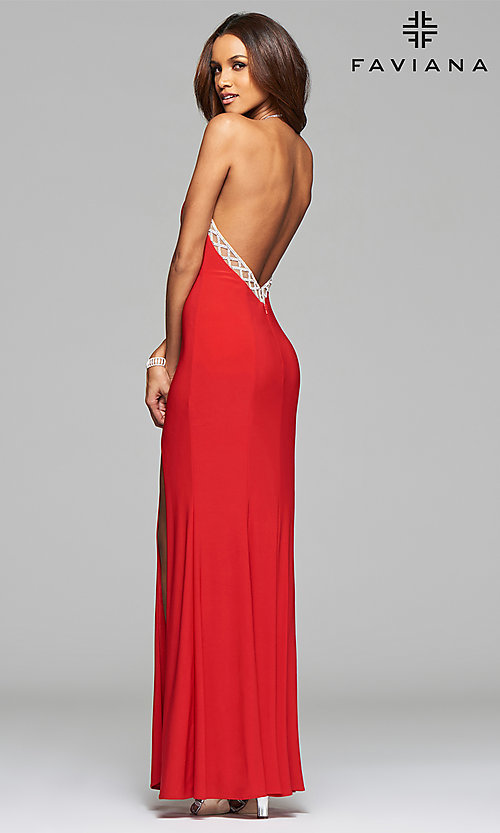 Image of jeweled high-neck Faviana prom dress with open back.  Style: FA-7727 Detail Image 3