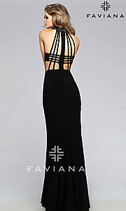 Beaded High Neck Side Cut Out Dress by Faviana