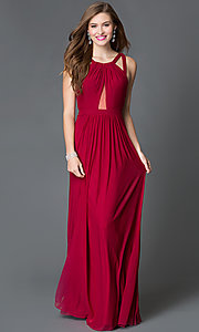 Image of long open back sheer midriff cutout prom dress  Style: FA-7741 Front Image