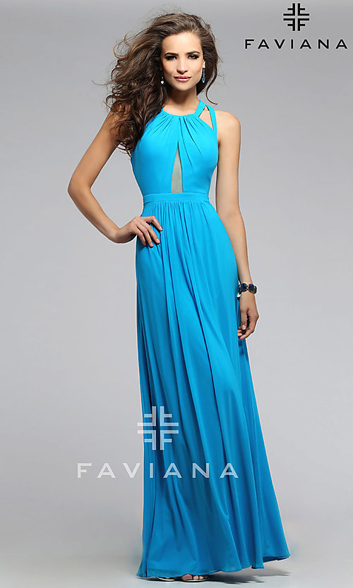Image of long open back sheer midriff cutout prom dress  Style: FA-7741 Detail Image 2