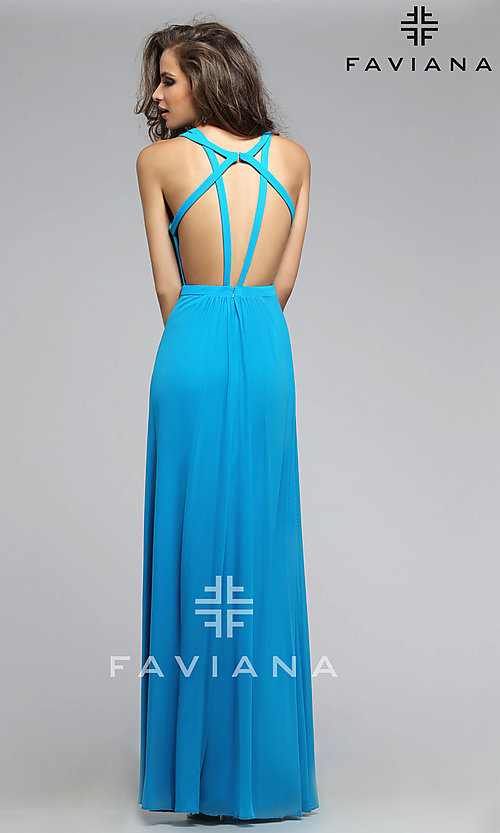 Image of long open back sheer midriff cutout prom dress  Style: FA-7741 Detail Image 3