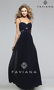 Image of long spaghetti strap sweetheart dress Style: FA-7742 Front Image