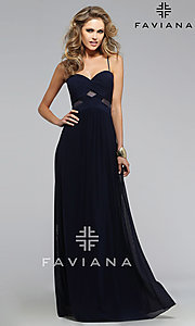 Image of long spaghetti strap sweetheart dress Style: FA-7742 Detail Image 1
