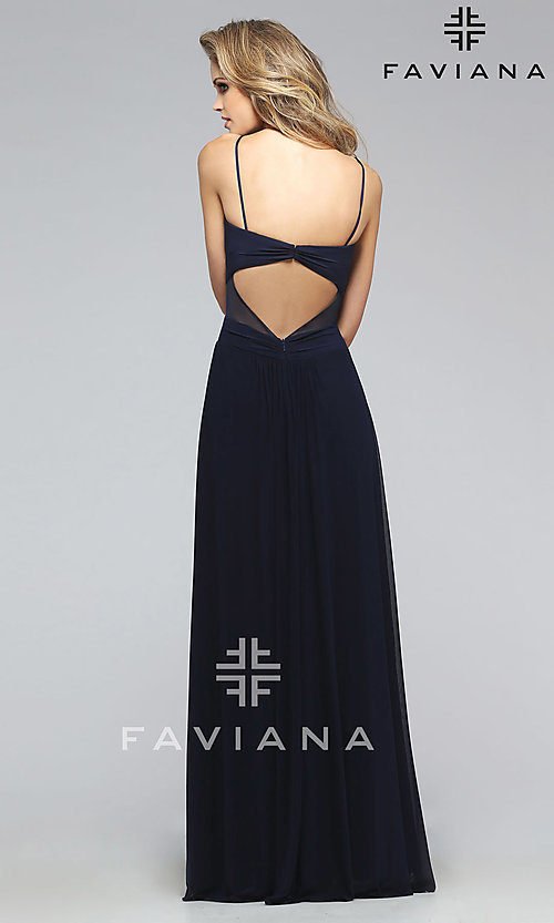 Image of long spaghetti strap sweetheart dress Style: FA-7742 Back Image
