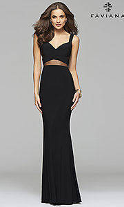 Image of long sleeveless cut-out v-neck prom dress Style: FA-7744 Detail Image 1