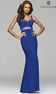 Image of long sleeveless cut-out v-neck prom dress Style: FA-7744 Front Image
