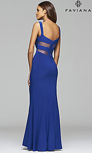 Image of long sleeveless cut-out v-neck prom dress Style: FA-7744 Back Image