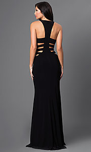 Image of long sleeveless royal blue side cut out prom dress Style: FA-7820 Detail Image 2