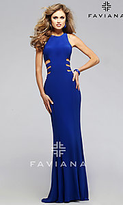 Faviana Royal Blue Side Cut Out Prom Dress