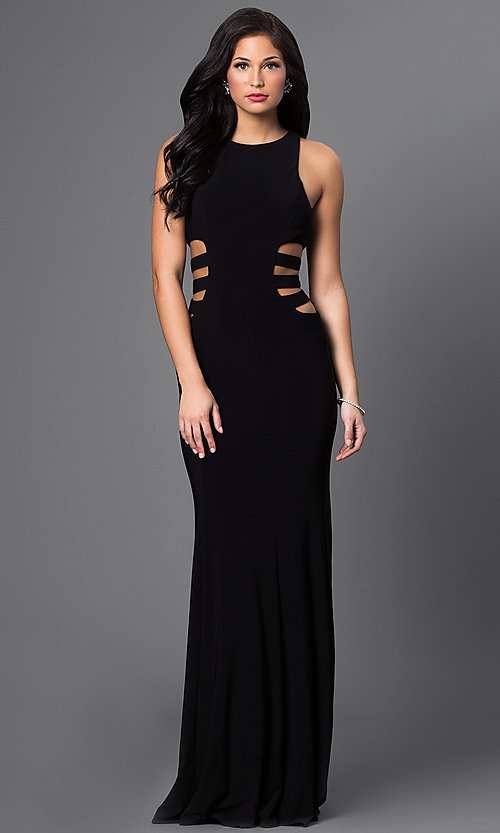 Image of Faviana side-cut-out prom dress with strappy back. Style: FA-7820 Front Image