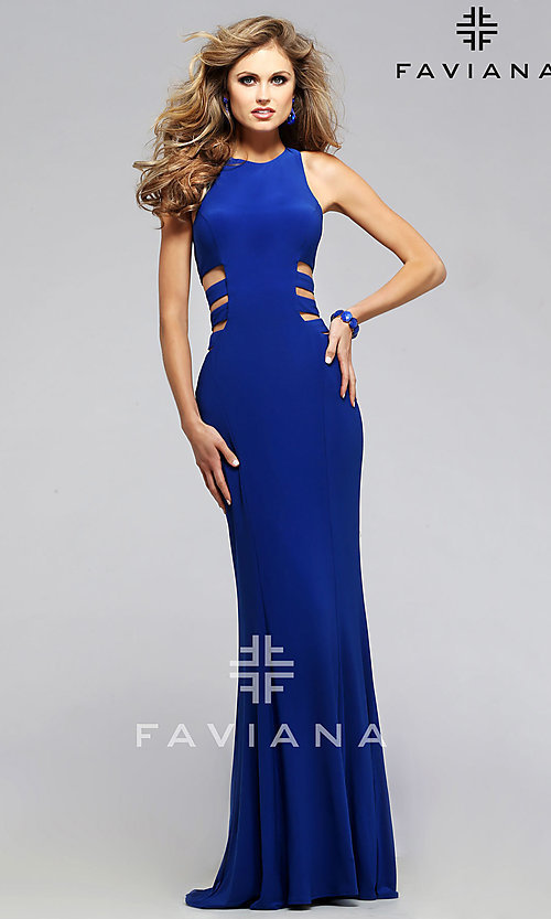 Image of long sleeveless royal blue side cut out prom dress Style: FA-7820 Front Image