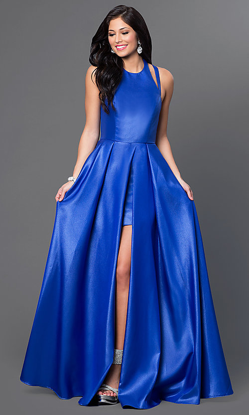 Image of Faviana high-low open-back prom dress. Style: FA-