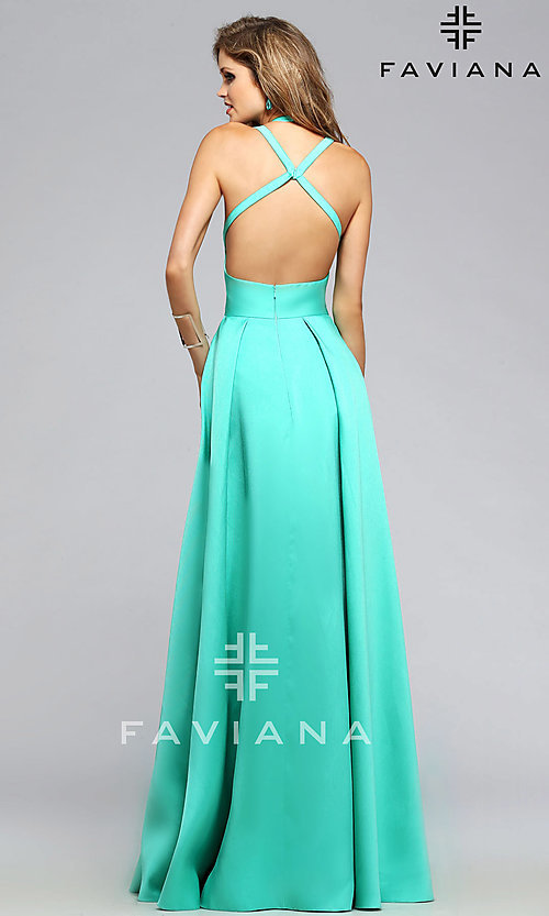 Image of Faviana high-low open-back prom dress. Style: FA-7752 Back Image