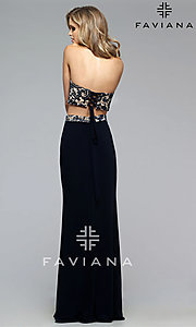Image of navy nude two piece high neck lace top corset back floor length dress Style: FA-7757 Back Image