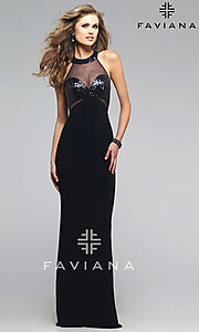 Image of long sleeveless racer back illusion high neck dress Style: FA-7768 Front Image