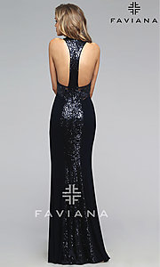 Image of long sleeveless racer back illusion high neck dress Style: FA-7768 Back Image
