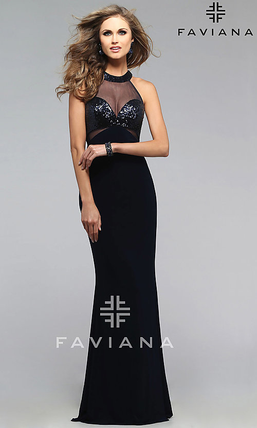 Image of long sleeveless racer back illusion high neck dress Style: FA-7768 Detail Image 1