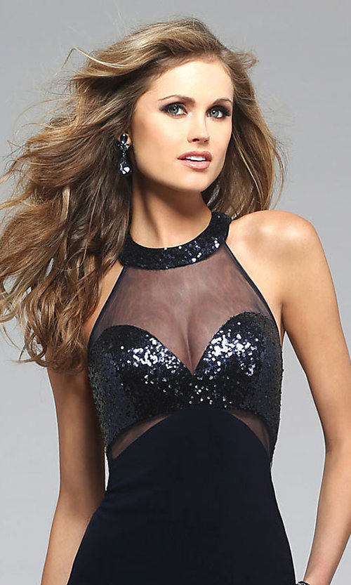 Image of long sleeveless racer back illusion high neck dress Style: FA-7768 Detail Image 2