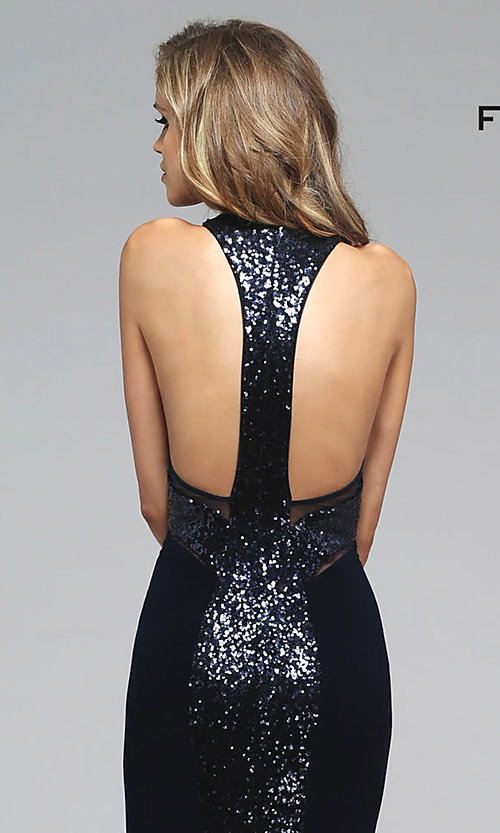 Image of long sleeveless racer back illusion high neck dress Style: FA-7768 Detail Image 3