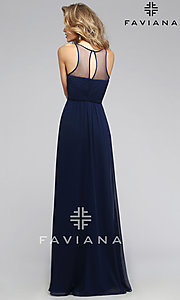 Image of long high sheer illusion neck keyhole back dress  Style: FA-7774 Back Image