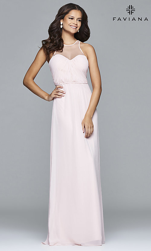 Image of long high sheer illusion neck keyhole back dress  Style: FA-7774 Detail Image 3