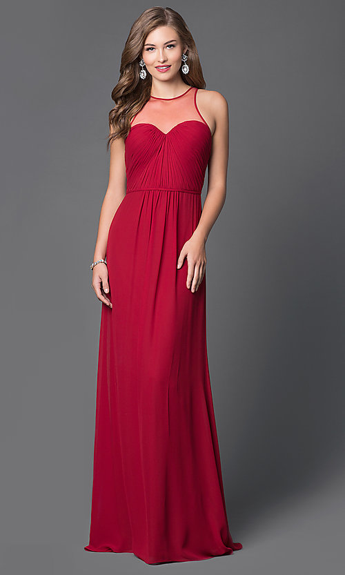 Image of long high sheer illusion neck keyhole back dress  Style: FA-7774 Front Image