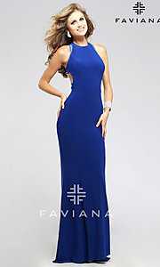 Long High Neck Backless Evening Dress by Faviana