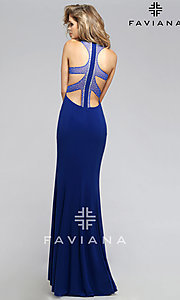 Image of long sleeveless open back high neck dress Style: FA-7779 Back Image