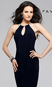 Image of long Faviana black sleeveless keyhole cut out dress Style: FA-7781 Detail Image 2