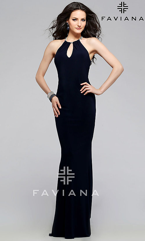Image of long Faviana black sleeveless keyhole cut out dress Style: FA-7781 Front Image