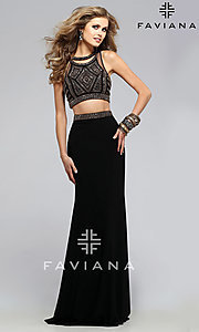 Faviana Two Piece Prom Dress with Beaded Top