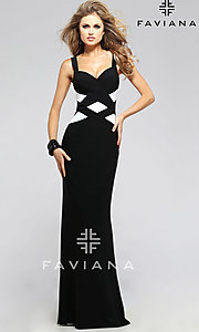 Black and White Long Faviana Prom Dress