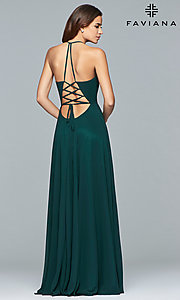 Image of long low v-neck thigh slit corset back dress  Style: FA-7747 Back Image