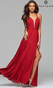 Image of long low v-neck thigh slit corset back dress  Style: FA-7747 Detail Image 7