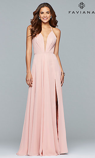 Faviana Low V-Neck Corset Back Prom Dress